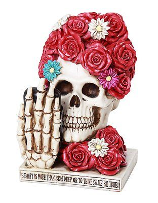 Floral Red Rose Selfie Skull Eternal Beauty Collectible Figurine 6 inch