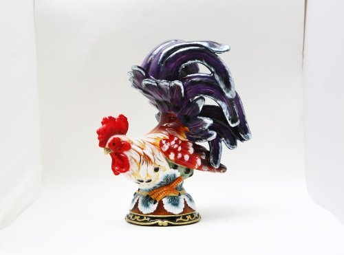 "Pacific 9.5"" Ceramic Rooster Perching Home Accent Decor, Small"