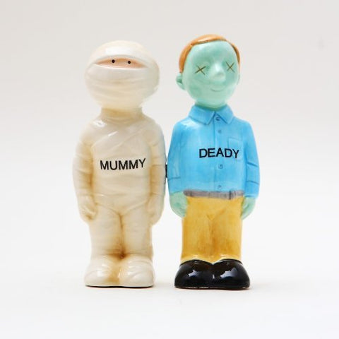 Mummy Deady Ceramic Magnetic Salt and Pepper Shakers Collection Set