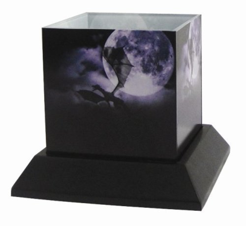 5 Inch The Voyage Silhouettes Square Candle Holder, Purple and Black