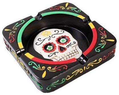 Pacific Trading Giftware Day of The Dead Skull Mexica Ashtray Figurine Made of Polyresin