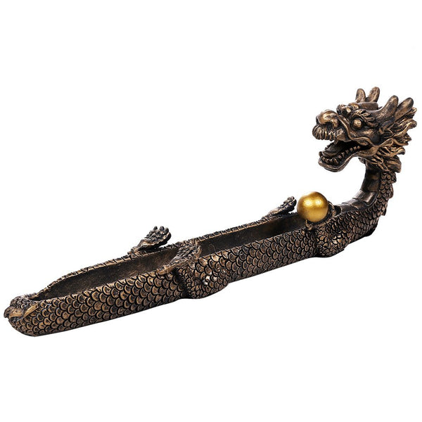 Pacific Giftware Feng Shui Dragon Holding Orb Cast Bronze Stick Incense Burner Holder 10.25 Inch L