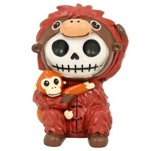SUMMIT COLLECTION Furrybones Utan Signature Skeleton in Orangutan Costume Hugging Monkey Buddy