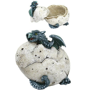 5 Inch Green Dragon Hatchling Cracked Egg Jewelry/Trinket Box Figurine
