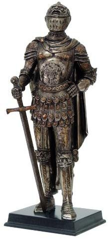 "Medieval Knight Statue Bronze Finishing Cold Cast Resin Statue 11 3/4"" tall"