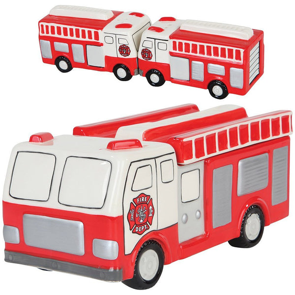 (Set) Ceramic Fire Truck Magnetized Salt & Pepper Shakers And Cookie Jar