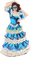 PTC 8 Inch Day of The Dead Blue Dress Mexican Dancer Statue Figurine