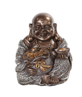 4 Inch Happy Buddha Holding Money Bag Buddhism Resin Statue Figurine