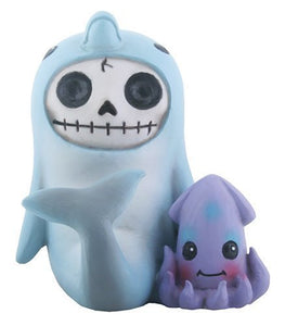 SUMMIT COLLECTION Furrybones Sonar Signature Skeleton in Dolphin Costume with Little Squid Buddy