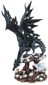 18.5 Inch Black Dragon with Small White Hatchling Statue Figurine