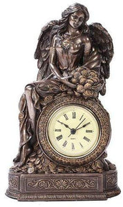 Bronzed Greek Goddess Fortuna Table Clock Made of Polyresin