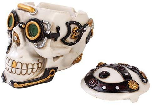 Exotic Steampunk Cool White Skull Jewelry Box Figurine Made of Polyresin