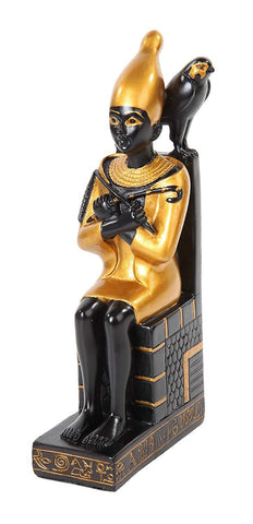 7.25 Inch Resin Sitting Egyptian Pepi with Bird Statue Figurine