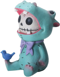 SUMMIT COLLECTION Furrybones Hippolito Signature Skeleton in Hippopotamus Costume with a Small Bird