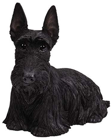 Pacific Giftware PT Realistic Large Size Statue Black Scottish Highlands Terrier Dog Long Hair Look Decorative Resin Figurine