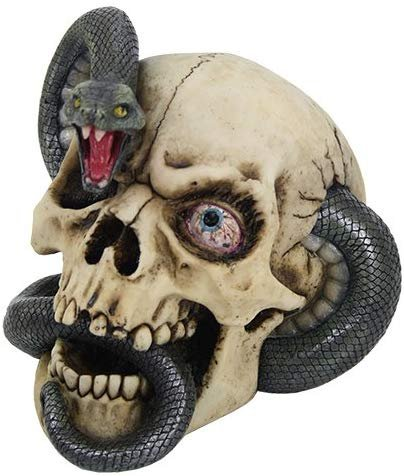 Pacific Giftware Skull with Protuding Black Mamba Snake Bloodshot Eyes Figurine Sculpture Halloween Decor