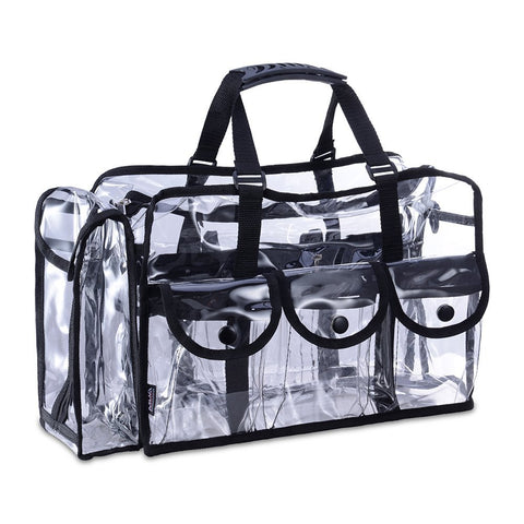 KIOTA Makeup Artist Storage Bag, Clear Cosmetic Bag with Side Pockets and Shoulder Strap, Ergonomic Handle, ON THE GO Series
