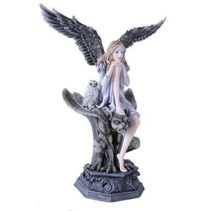 Garden Fairy Dark Angel With Gargoyle Figurine Handpainted Resin