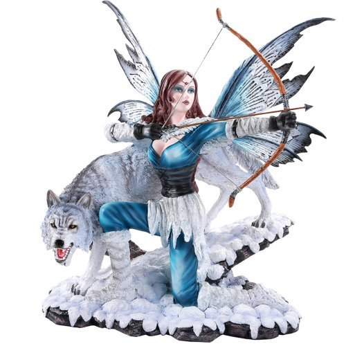 Pacific Giftware Large Winter Fairy Warrior with White Wolf Bow and Arrow...