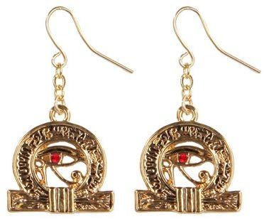Egyptian Wedjat Golden Pewter Earrings Jewelry- Mystica Collection