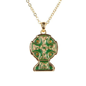Celtic Cross Gold & Green Necklace Jewelry