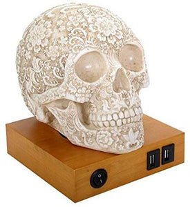 Floral Skull Home Decor LED Lamp with Two USB Charging...
