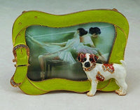 Enamel Jack Russell with Bejeweled Leash Picture Frame Statue Figurine