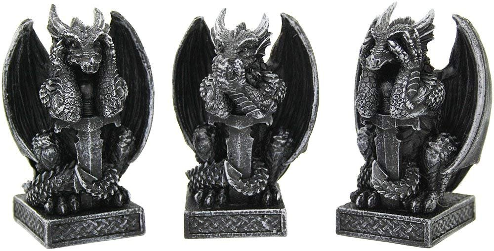 Pacific Giftware Medieval Dragons See No Evil, Speak No Evil, Hear No Evil Guardian Dragon Collectible Figurine Set