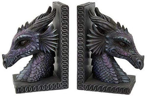 Gothic Purple Dragon Bookends Mystic Book Ends Set Evil