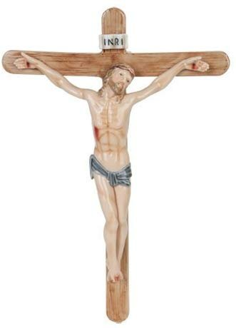 PTC 12 Inch Jesus on The Crucifix with Sign Religious Statue Figurine