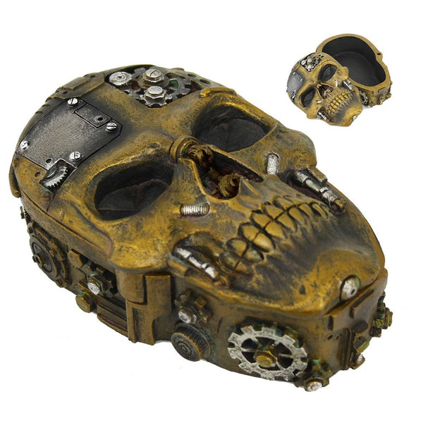 Pacific Giftware Steampunk Inspired Skull with Nuts and Bolts Lidded Trinket Box Tabletop Decor