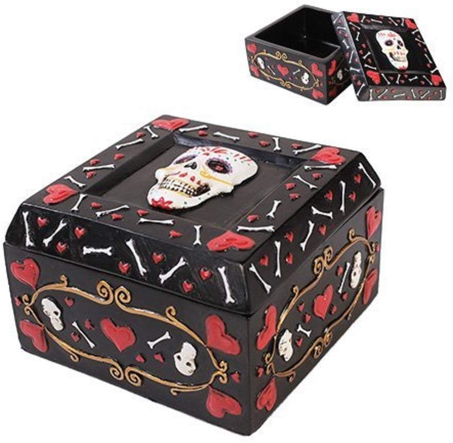 Pacific Trading Giftware Day of The Dead Black Jewelry/Trinket Candy and Offering Bowl Box Height 2.5'' Figurine Made of Polyresin