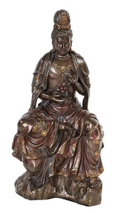 10.25 Inch Water and Moon Kwan Yin Hindu Resin Statue Figurine