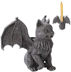 Cat Gargoyle Candle Holder Home Decor Statue Made of Polyresin