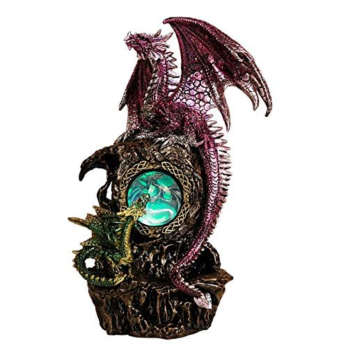 Pacific Giftware Dual Dragon on Rock with LED Light