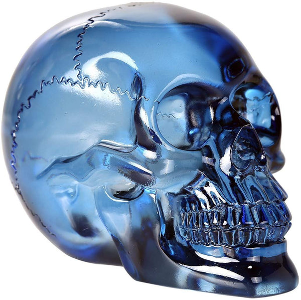 Crystal Clear Blue Skull Solid Resin 5 Inch Tall