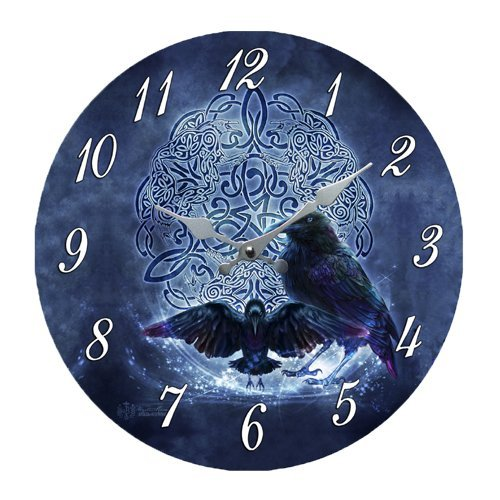 "Black Raven Celtic 13.5"" Wall Clock Round Plate By Brigid Ashwood"