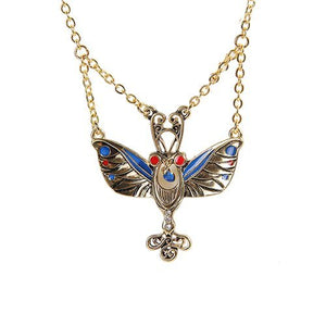 Golden Mariposa Butterfly Necklace Pendant Pewter Alloy