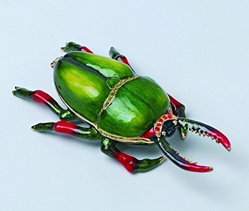 Green and Red Bug Jewels Studded Jewelry/Trinket Box Figurine