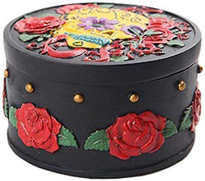 PTC Pacific Giftware Black with Red Roses Day of The Dead Skull Box Statue...