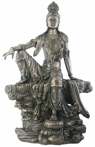 14 Inch Bronze Colored Water and Moon Kuan Yin Sitting on Rocks