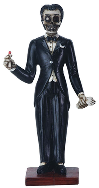 6 Inch Day of The Dead - El Catrin Figurine in Tuxedo Holding Glove