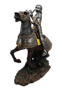 Brave Broad Sword Medieval Knight Warrior On Cavalry Horse Figurine Statue