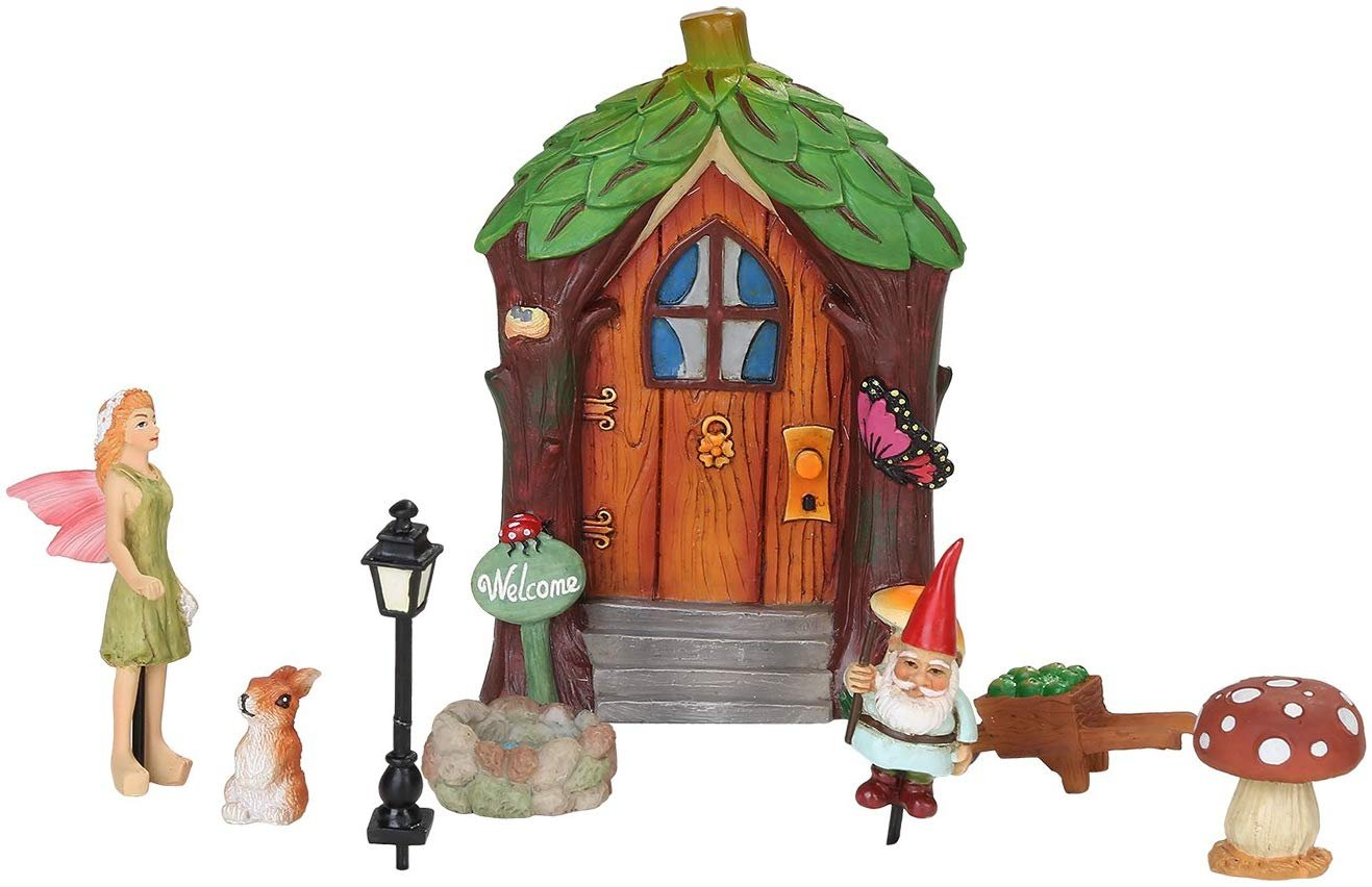 Mini Fairy Garden 8 Piece Starter Kit Decorative Mini Garden of Enchantment Figurine Accessories in Gift Pack