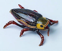 PTC Burgundy Bug Jewel Studded Snap Closure Jewelry/Trinket Box Figurine