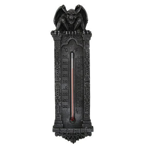 Gifts & Decor Underworld Evil Gargoyle Perching On Structure Roof Wall Thermometer Figurine