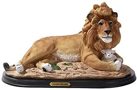 Pacific Giftware Lion and The Lamb Statue Wood Base with Brass Name Plate