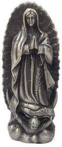 "Virgen De Guadalupe Pewter Statue Our Lady of Guadalupe Figurine 4.5""H"