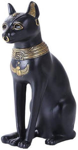 Pacific Giftware 8 Inches Ancient Egyptian God Black and Golden Bastet Cat Statue Figurine