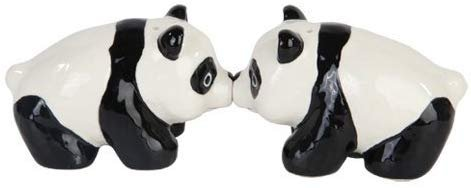"3""L Cutie China Panda Kissing Magnetic Salt & Pepper Shakers -Attractives Collection"